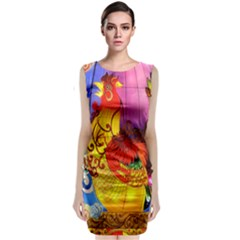 Chinese Zodiac Signs Sleeveless Velvet Midi Dress
