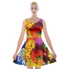 Chinese Zodiac Signs Velvet Skater Dress