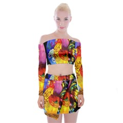 Chinese Zodiac Signs Off Shoulder Top with Skirt Set