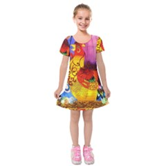 Chinese Zodiac Signs Kids  Short Sleeve Velvet Dress