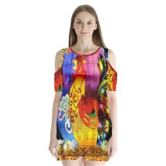 Chinese Zodiac Signs Shoulder Cutout Velvet  One Piece