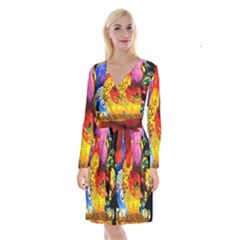Chinese Zodiac Signs Long Sleeve Velvet Front Wrap Dress