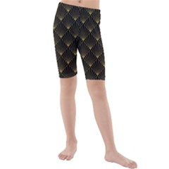Abstract Stripes Pattern Kids  Mid Length Swim Shorts