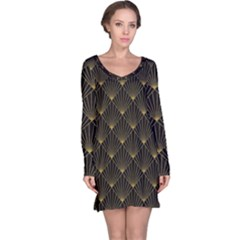 Abstract Stripes Pattern Long Sleeve Nightdress