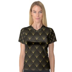 Abstract Stripes Pattern Women s V-Neck Sport Mesh Tee