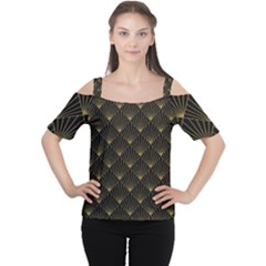 Abstract Stripes Pattern Women s Cutout Shoulder Tee