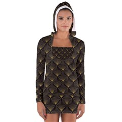 Abstract Stripes Pattern Women s Long Sleeve Hooded T-shirt