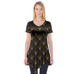 Abstract Stripes Pattern Short Sleeve Tunic