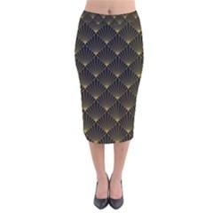 Abstract Stripes Pattern Velvet Midi Pencil Skirt