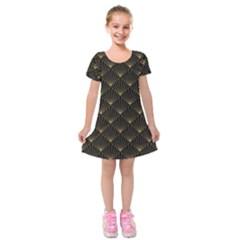 Abstract Stripes Pattern Kids  Short Sleeve Velvet Dress