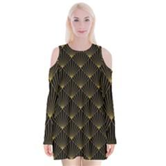 Abstract Stripes Pattern Velvet Long Sleeve Shoulder Cutout Dress