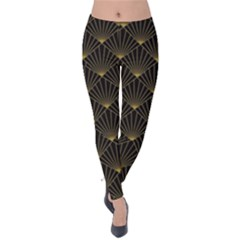Abstract Stripes Pattern Velvet Leggings