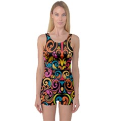 Art Traditional Pattern One Piece Boyleg Swimsuit