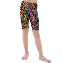 Art Traditional Pattern Kids  Mid Length Swim Shorts