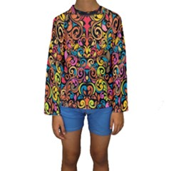 Art Traditional Pattern Kids  Long Sleeve Swimwear