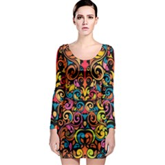 Art Traditional Pattern Long Sleeve Bodycon Dress