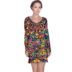 Art Traditional Pattern Long Sleeve Nightdress