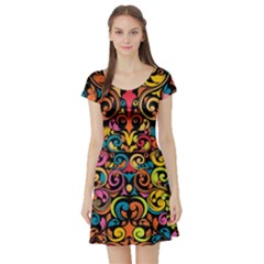 Art Traditional Pattern Short Sleeve Skater Dress