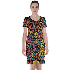Art Traditional Pattern Short Sleeve Nightdress