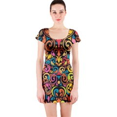 Art Traditional Pattern Short Sleeve Bodycon Dress