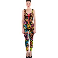 Art Traditional Pattern Onepiece Catsuit