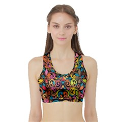 Art Traditional Pattern Sports Bra with Border