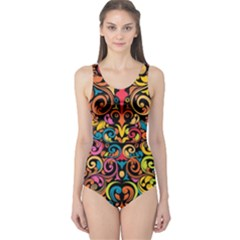 Art Traditional Pattern One Piece Swimsuit