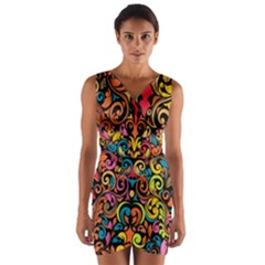 Art Traditional Pattern Wrap Front Bodycon Dress