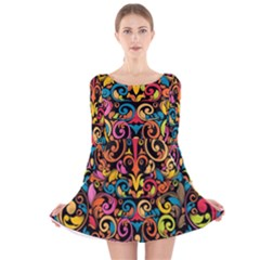 Art Traditional Pattern Long Sleeve Velvet Skater Dress