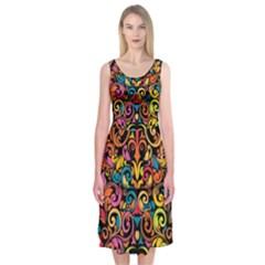 Art Traditional Pattern Midi Sleeveless Dress
