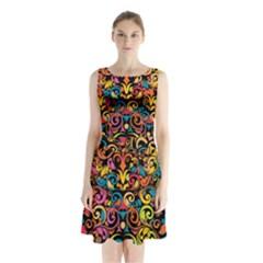 Art Traditional Pattern Sleeveless Chiffon Waist Tie Dress
