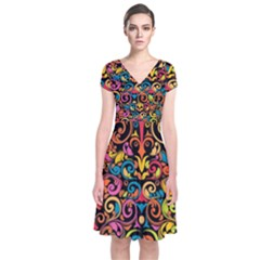 Art Traditional Pattern Short Sleeve Front Wrap Dress