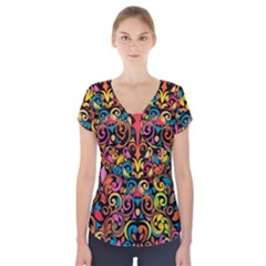 Art Traditional Pattern Short Sleeve Front Detail Top