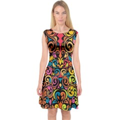Art Traditional Pattern Capsleeve Midi Dress