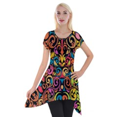 Art Traditional Pattern Short Sleeve Side Drop Tunic