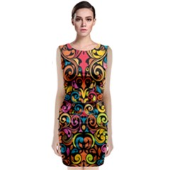 Art Traditional Pattern Sleeveless Velvet Midi Dress