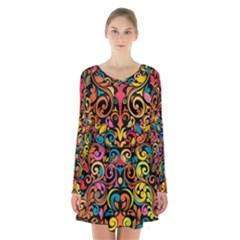 Art Traditional Pattern Long Sleeve Velvet V-neck Dress