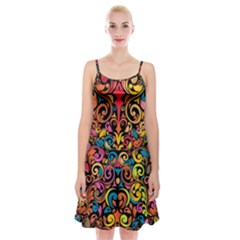 Art Traditional Pattern Spaghetti Strap Velvet Dress