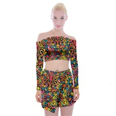 Art Traditional Pattern Off Shoulder Top with Skirt Set
