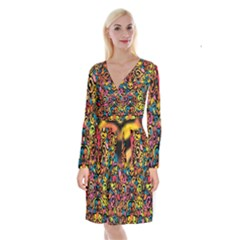 Art Traditional Pattern Long Sleeve Velvet Front Wrap Dress