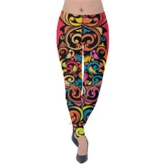 Art Traditional Pattern Velvet Leggings