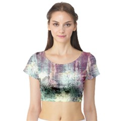 Frosty Pale Moon Short Sleeve Crop Top (Tight Fit)