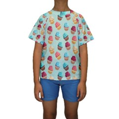 Cup Cakes Party Kids  Short Sleeve Swimwear