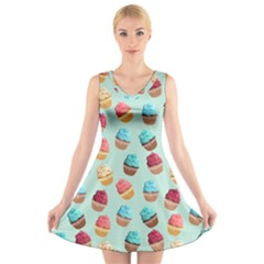 Cup Cakes Party V-Neck Sleeveless Skater Dress