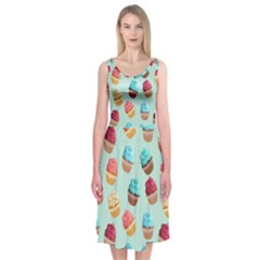 Cup Cakes Party Midi Sleeveless Dress