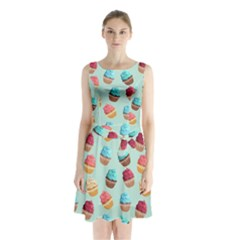 Cup Cakes Party Sleeveless Chiffon Waist Tie Dress