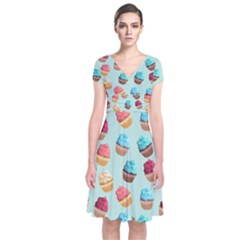 Cup Cakes Party Short Sleeve Front Wrap Dress