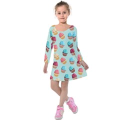 Cup Cakes Party Kids  Long Sleeve Velvet Dress