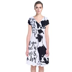 Dog person Short Sleeve Front Wrap Dress