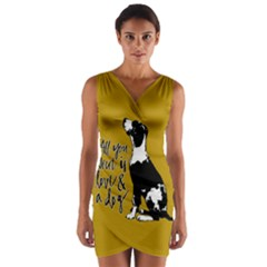 Dog person Wrap Front Bodycon Dress